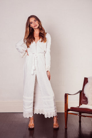 Elysium Cream Lace Button Down Linen Maxi Gown With Flared Sleeve and Tassel Ties