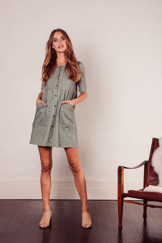 Hunter Mini Smock Dress in Sage Linen with pockets