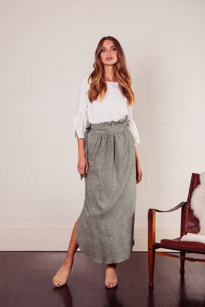 Aire Linen Maxi Skirt in Sage Green with high waist, detachable tie and side pockets