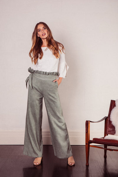 Zola Linen High Waisted Wide Leg Pants in Sage with Paperbag Waist