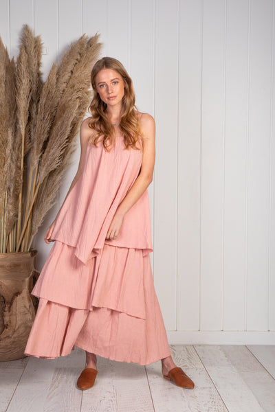 Dusk blush crepe linen layered maxi dress with adjustable straps