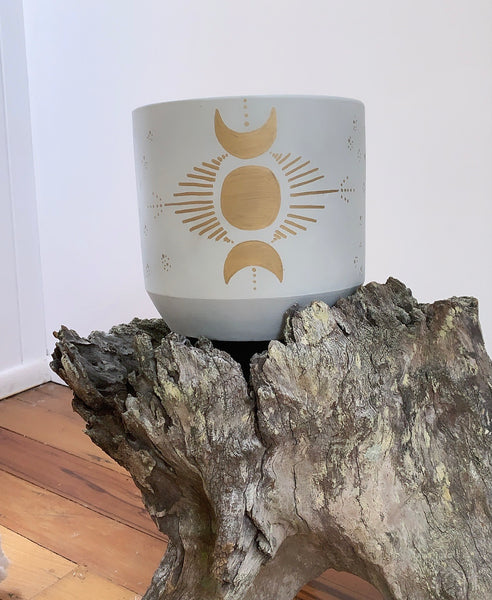 Celestial Triple Moon Goddess Planter Grey/Gold