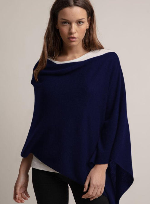 Cashmere Ruana in Navy