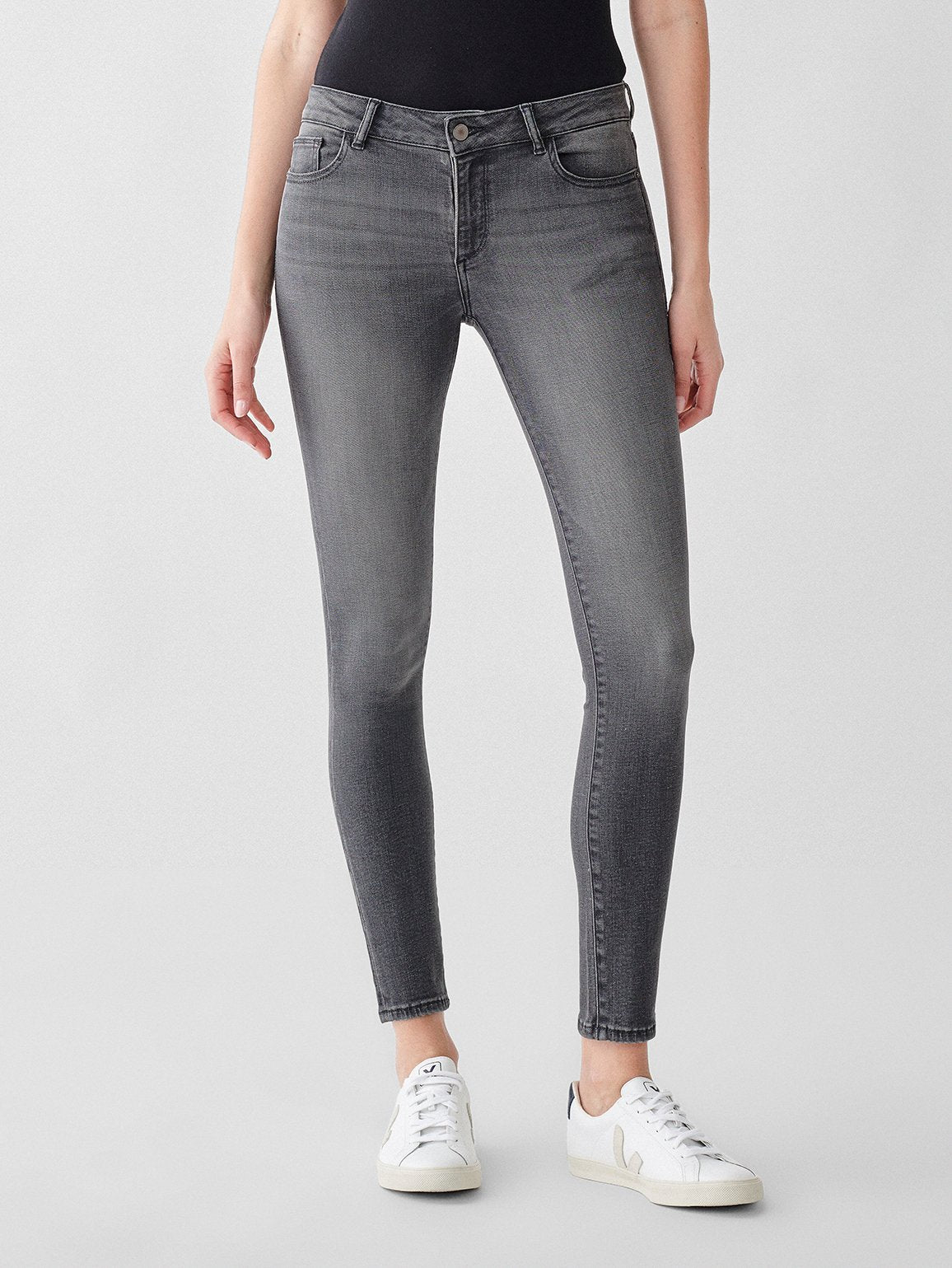 Florence Ankle Mid Rise Skinny in Drizzle