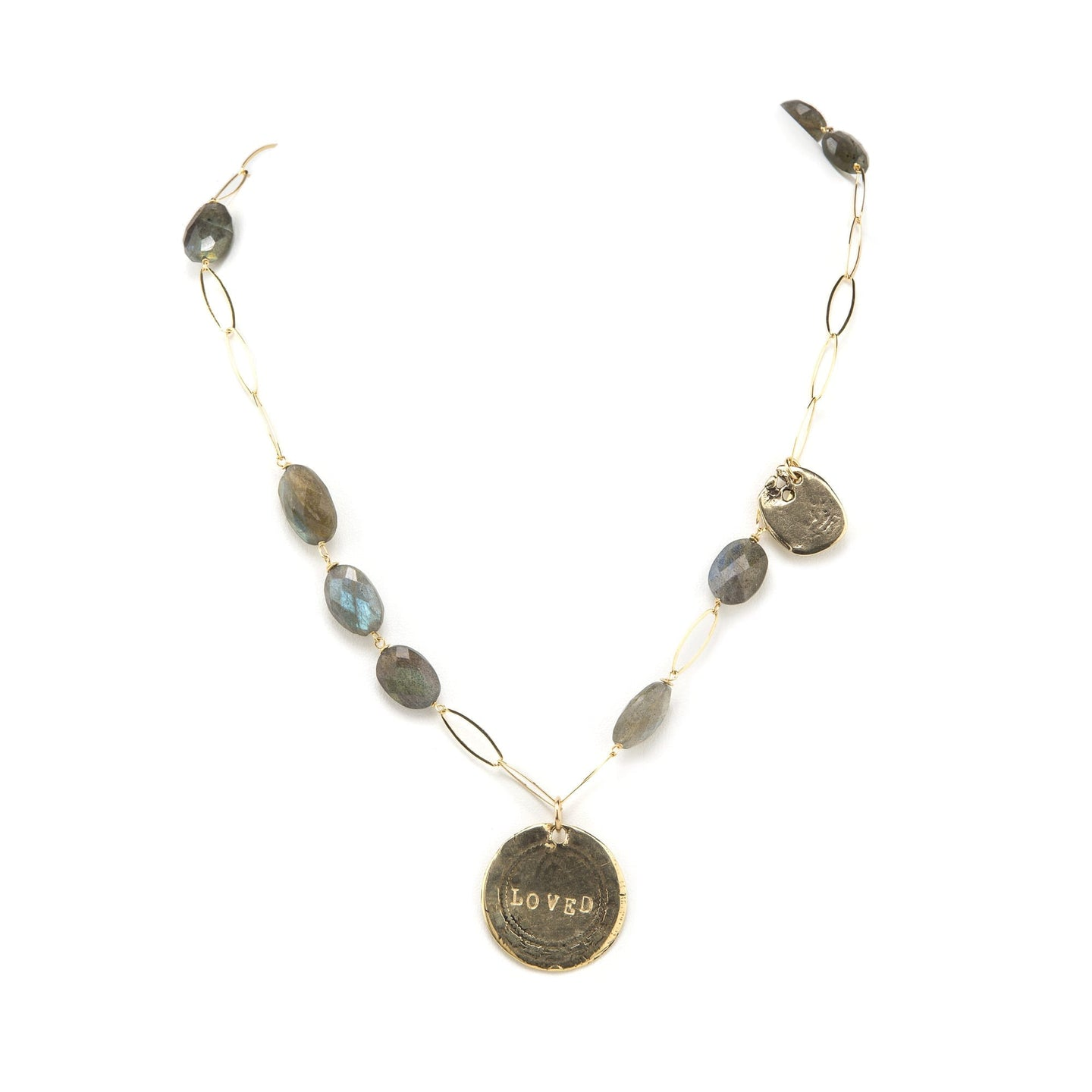 Love Stamped Necklace with Labradorite
