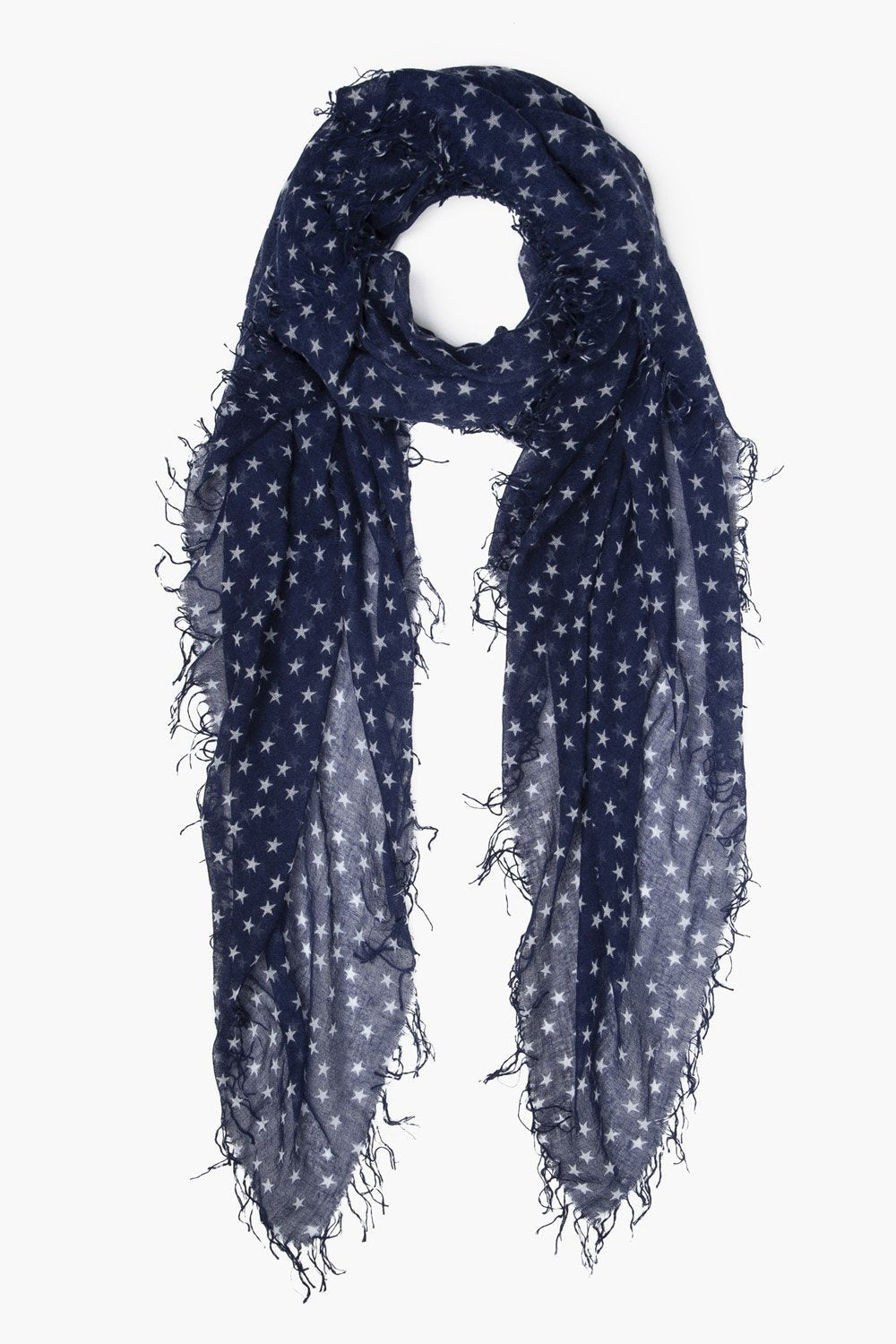 Star Print Cashmere & Silk Scarf in Outer Space