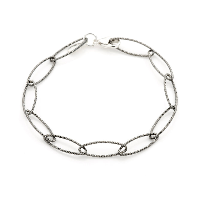 Lisbon Diamond Cut Bracelet in Oxidized Silver