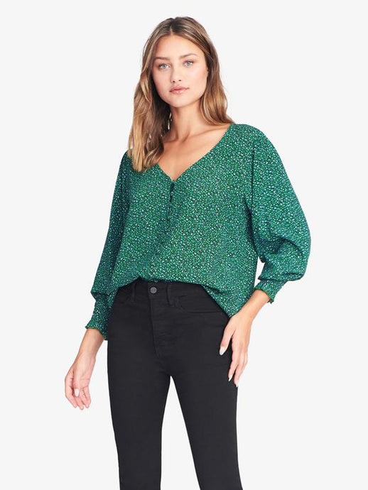Noelle Smocked Sleeve Blouse in Mini Emerald Leopard