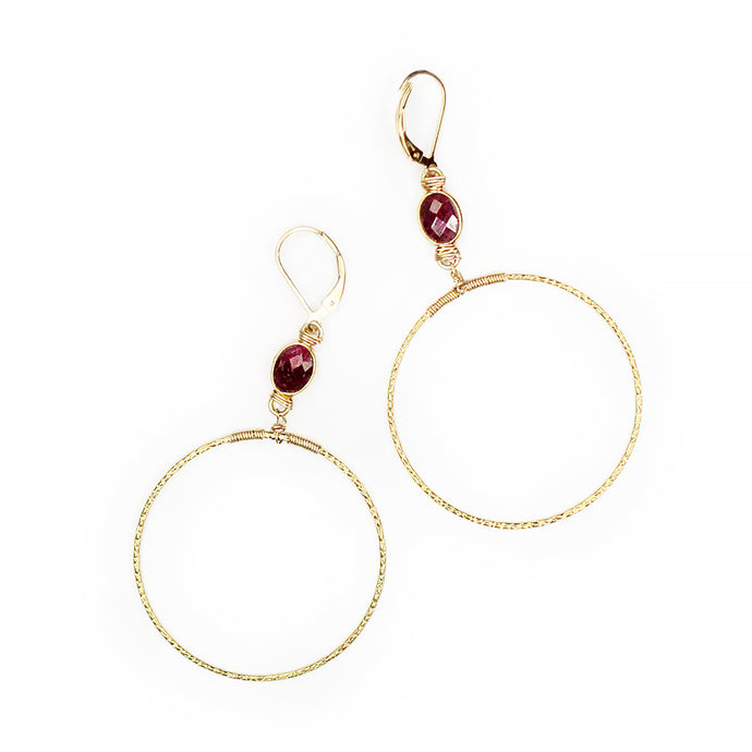 Ruby Hammered Hoops