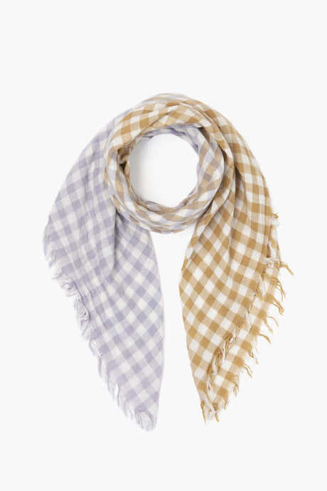 Cotton Gingham Scarf in Dapple Grey