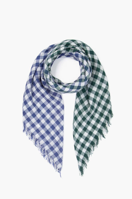 Cotton Gingham Scarf in Gray Blue