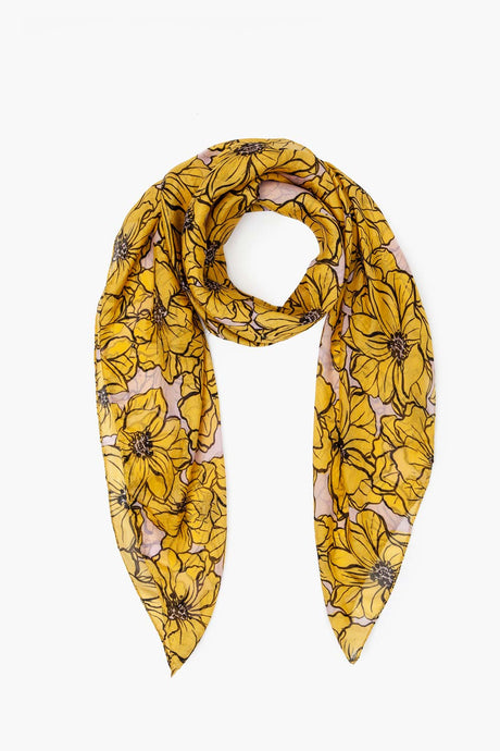 Anemone Print Silk Scarf in Arrowwood
