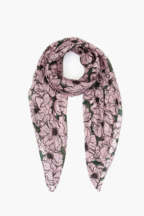 Anemone Print Silk Scarf in Dawn Pink
