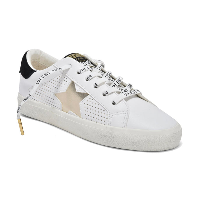 Gadol Low Top Sneaker in White/Gold Multi