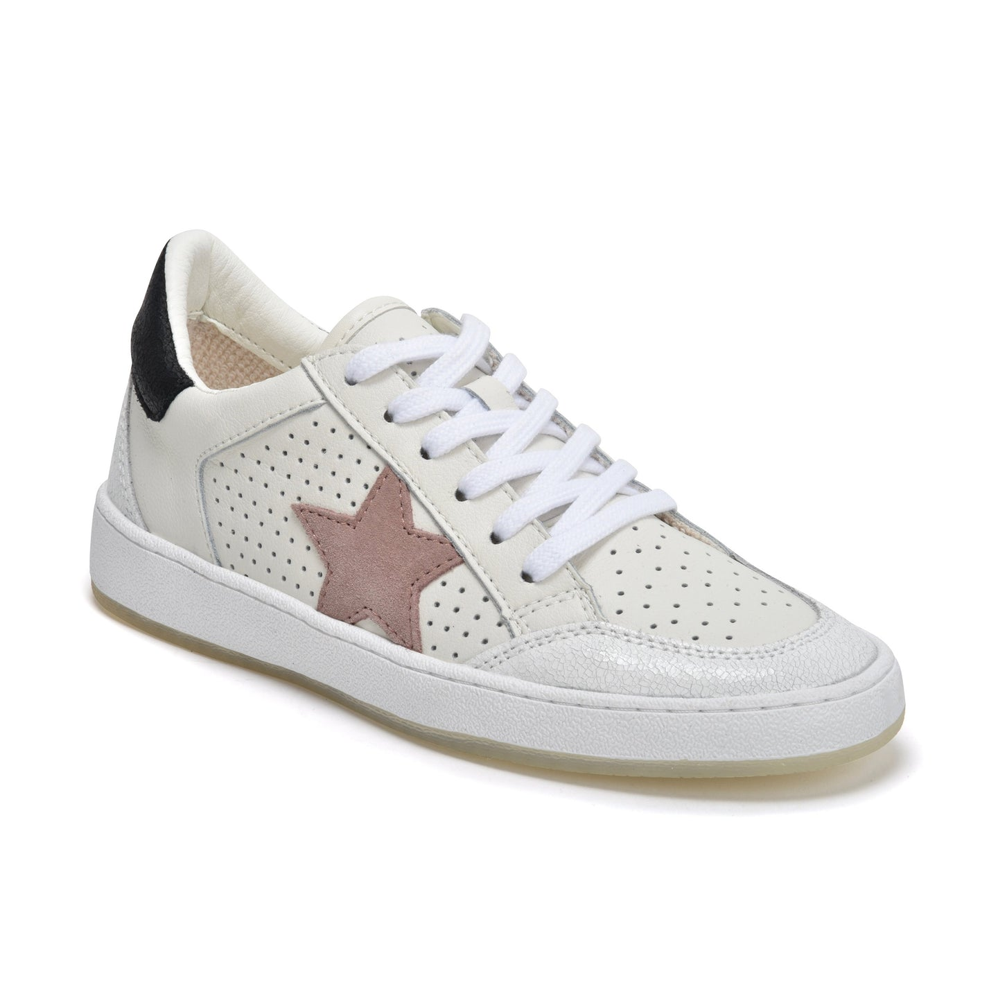 Ginette Low Top Sneaker in White/Taupe Multi