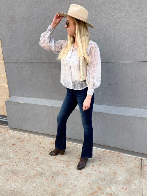 Sheer Button Down in Grey Snake