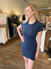 Side Ruched Dress in Navy
