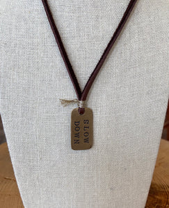 Dog Tag on Leather Necklace
