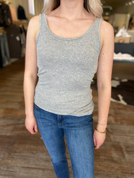 Basic Ribbed Tank in Grey