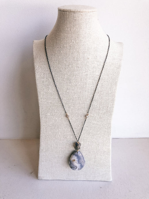 Long Necklace with Agate Drop