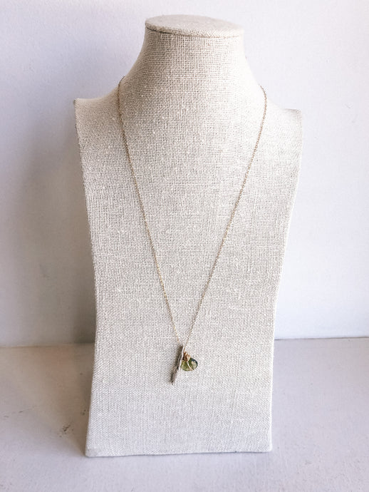 Short Necklace with Moss Aquamarine