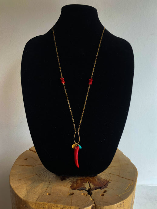 Coral & Turquoise Long Necklace