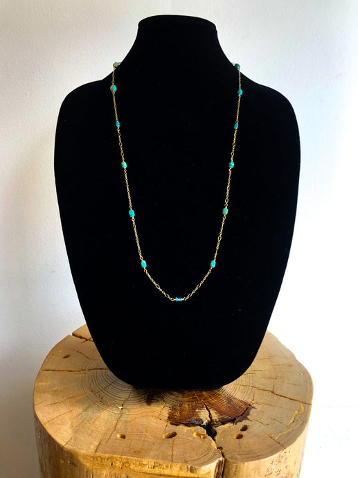 Apatite & Magnesite Long Necklace