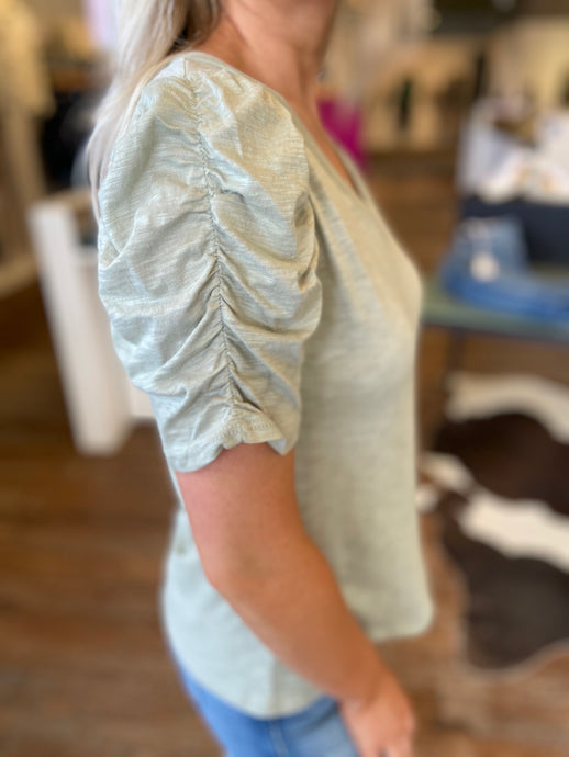 Ruched Sleeve Tee in Sage