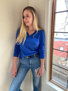 Cotton Distressed V-Neck Sweater in Royal Caribbean