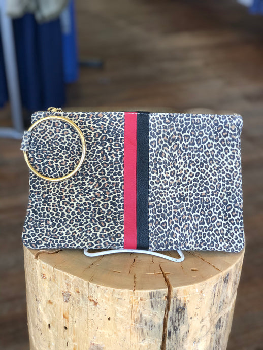 Gavi Leather Cheetah Clutch with Red/Black Stripe