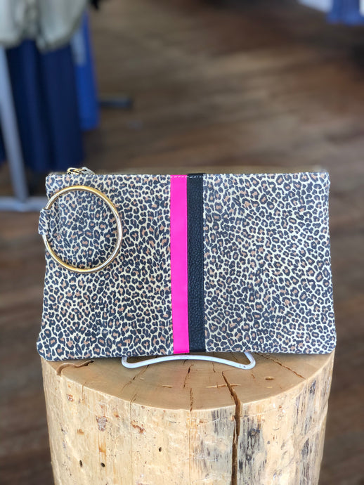 Gavi Leather Cheetah Clutch with Pink/Black Stripe