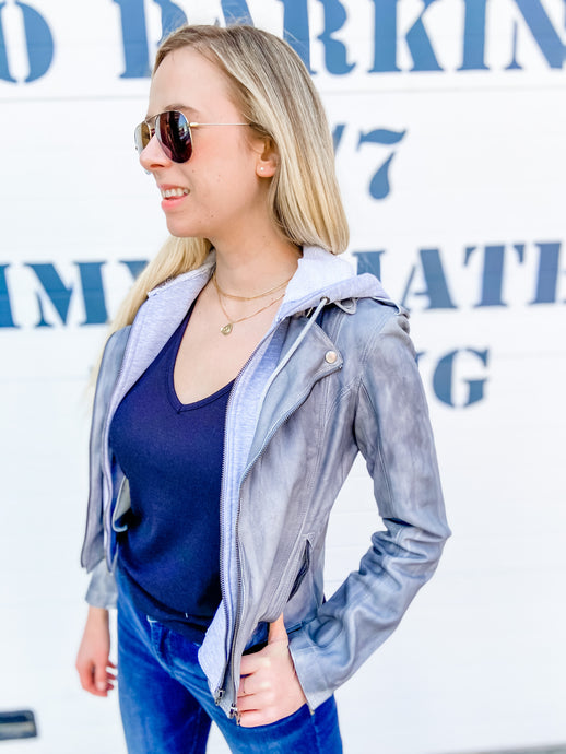 Molly Patina Leather Jacket in Steel Heather