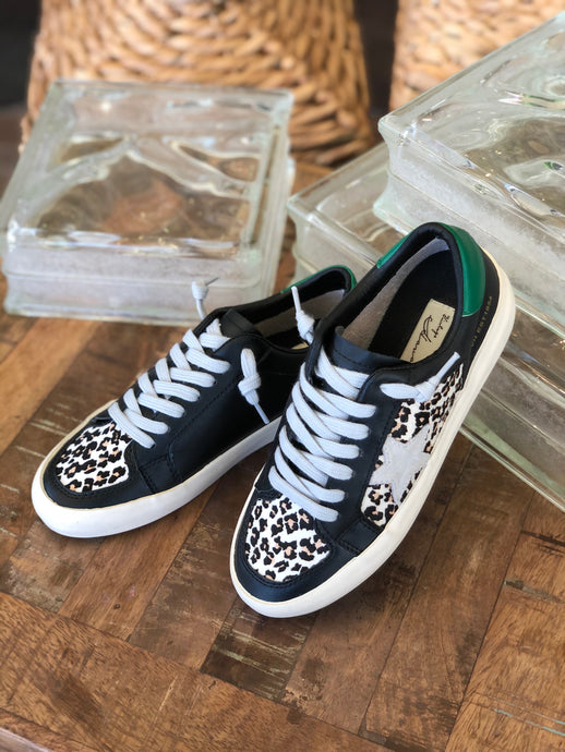Green Day Sneakers in Black/Leopard Multi