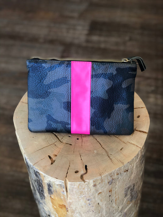Small Jessi Clutch in Green Camo with Pink Stripe