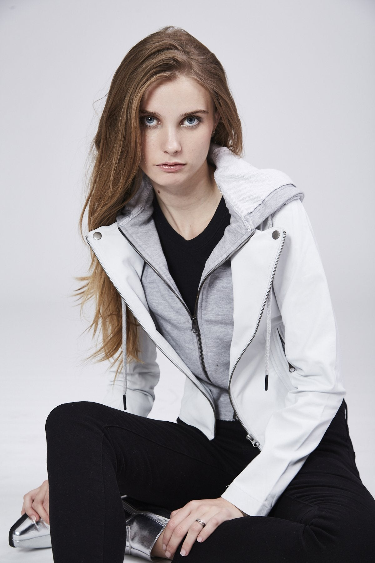 Molly Burnished Leather Jacket in White