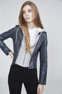 Molly Leather Jacket in Slate