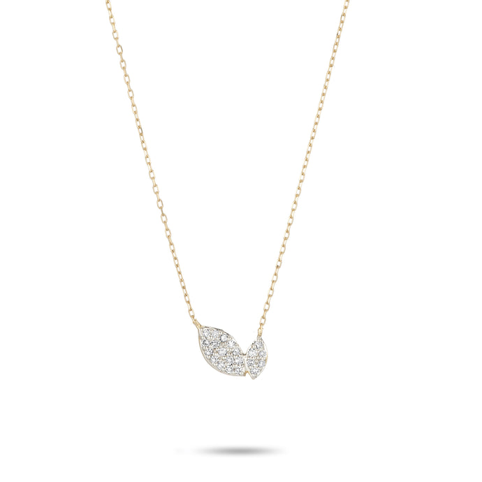 Tiny Pave 2 Marquise Necklace