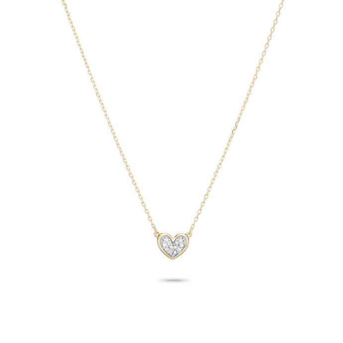Super Tiny Pavé Folded Heart Necklace