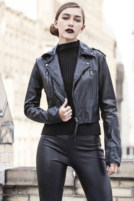 Erin Cropped Leather Jacket in Black