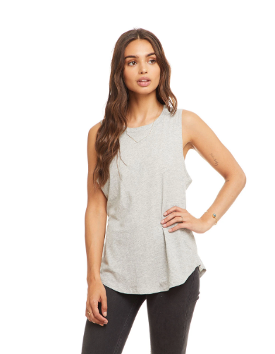 Shirttail Muscle Tank in Heather Grey