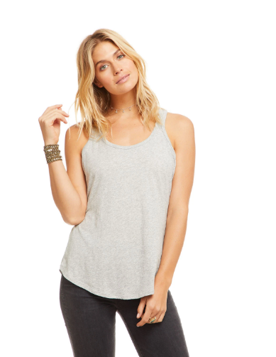 Shirttail Racerback Tank in Heather Grey