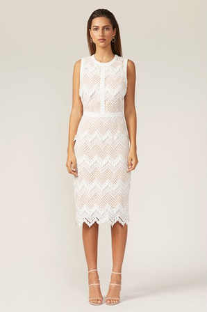 Melody Sheath Dress in White/Nude