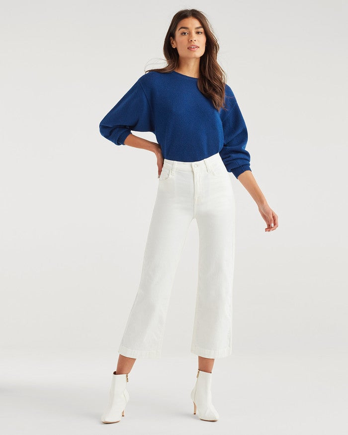 Wide Leg Alexa Crop in White Corduroy