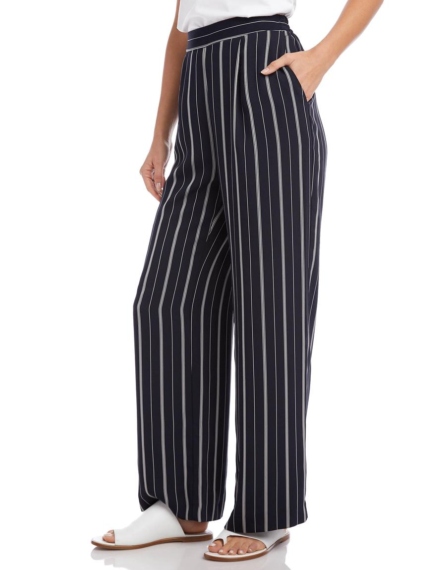 Striped Wide Leg Pants in Navy/White