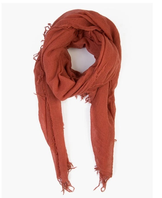 Cashmere & Silk Scarf in Barn Red