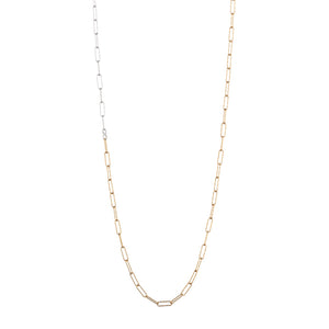Croatia Long Rectangle Diamond Cut Link Necklace in Gold & Silver Mix