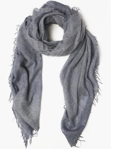 100% Cashmere Scarf in Heathered Stone Blue