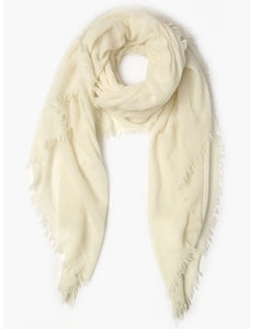 100% Cashmere Scarf in White