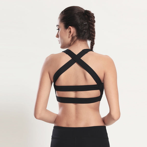 Vertvie Solid Cross Strap Black Yoga Bra Women - inshapekit