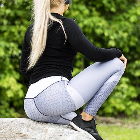 Elastic Sleek Black & White Workout Leggings